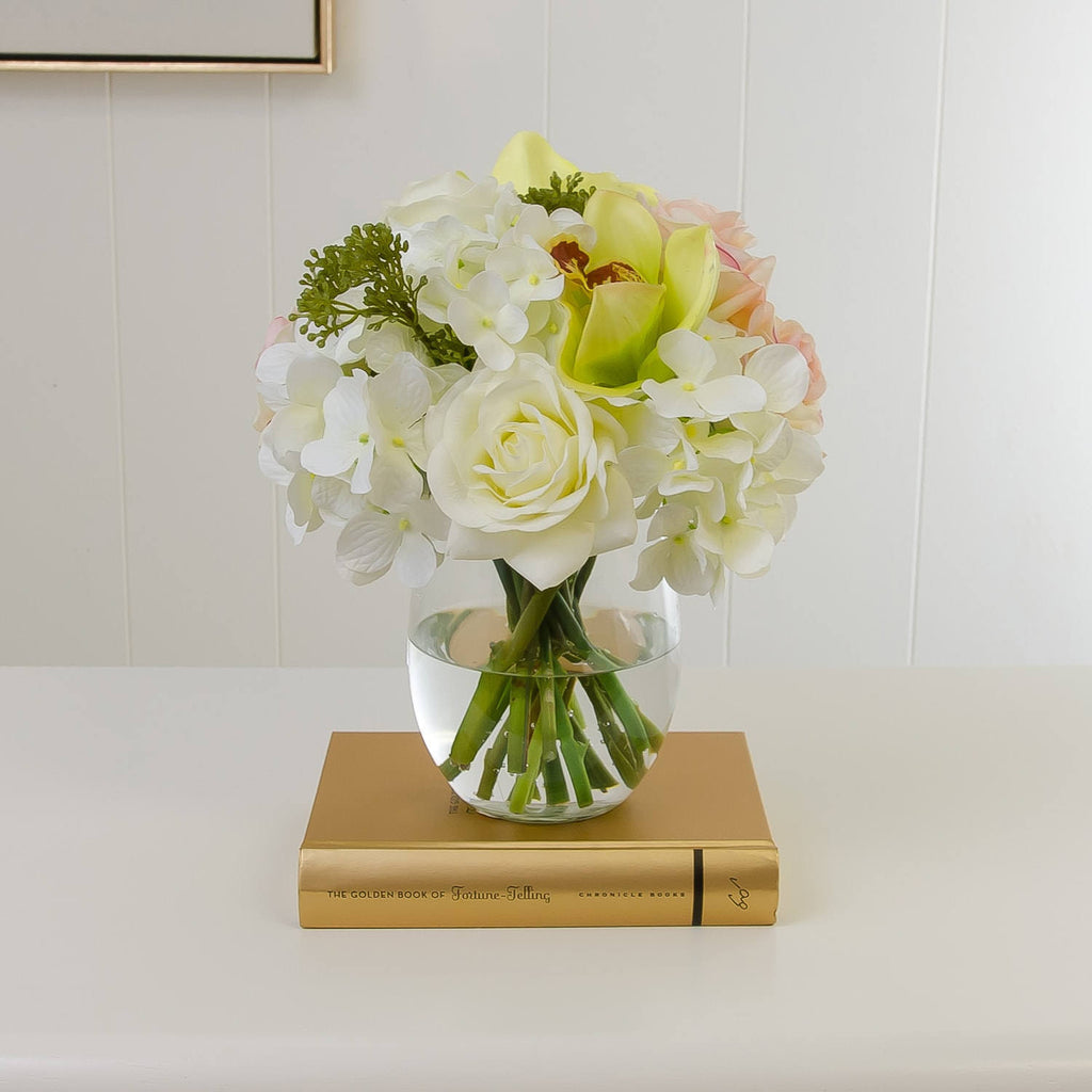 Real Touch White Ivory Pink Rose Orchid Hydrangea Arrangement