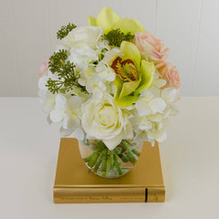 Real Touch White Ivory Pink Rose Orchid Hydrangea Arrangement - Flovery