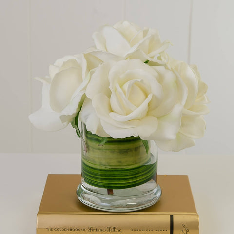 White Real Touch Rose Arrangement Cylinder Foliage