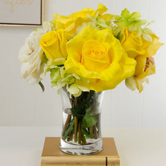 Large Real Touch Yellow Rose Arrangement Peony Hydrangea