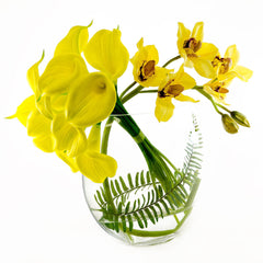 Large Yellow Real Touch Calla Lily Orchid Arrangement Half Moon