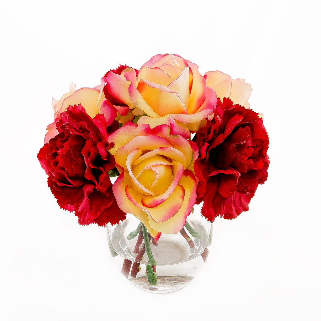 Real Touch Orange Yellow Roses Carnation Arrangement - Flovery