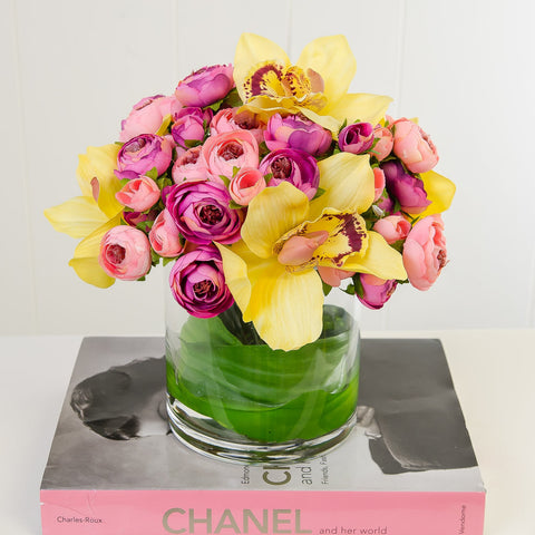 Real Touch Yellow Orchids Pink Primerose Arrangement