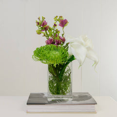 Real Touch White Calla Lilies Arrangement Green Purple