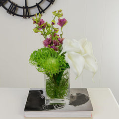 Real Touch White Calla Lilies Arrangement Green Purple - Flovery