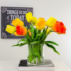 Large Real Touch Tulip Arrangement Yellow Red