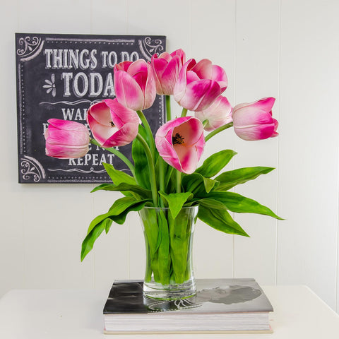Large Real Touch Pink Tulip Arrangement Tall