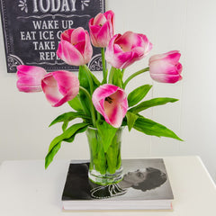 Large Real Touch Pink Tulip Arrangement Tall - Flovery