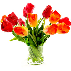 Large Real Touch Tulip Arrangement Red Orange
