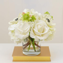 White Real Touch Rose Hydrangea Poppy Arrangement