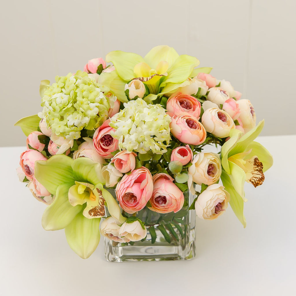 Silk Green Orchids Lilies Pink Primeroses Arrangement
