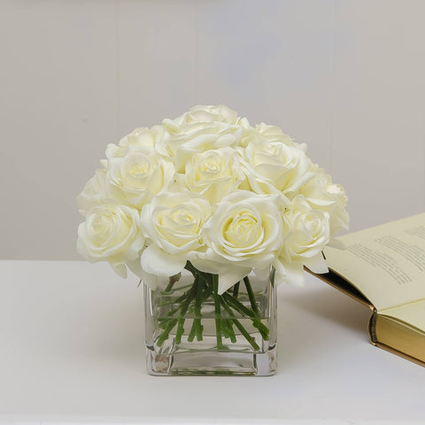 20 Real Touch White Roses Arrangement Square - Flovery
