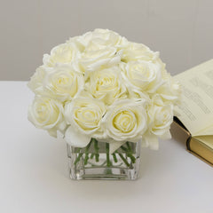 2 Dozens Real Touch White Roses Arrangement Square - Flovery