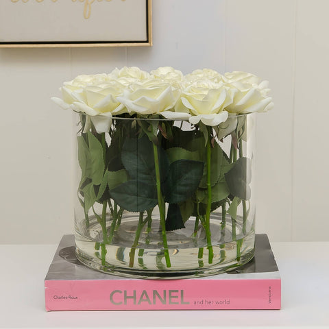 Large White Real Touch Rose Arrangement Cylinder