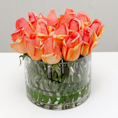 Real Touch Orange Tipped Pink Rose Arrangement - Flovery