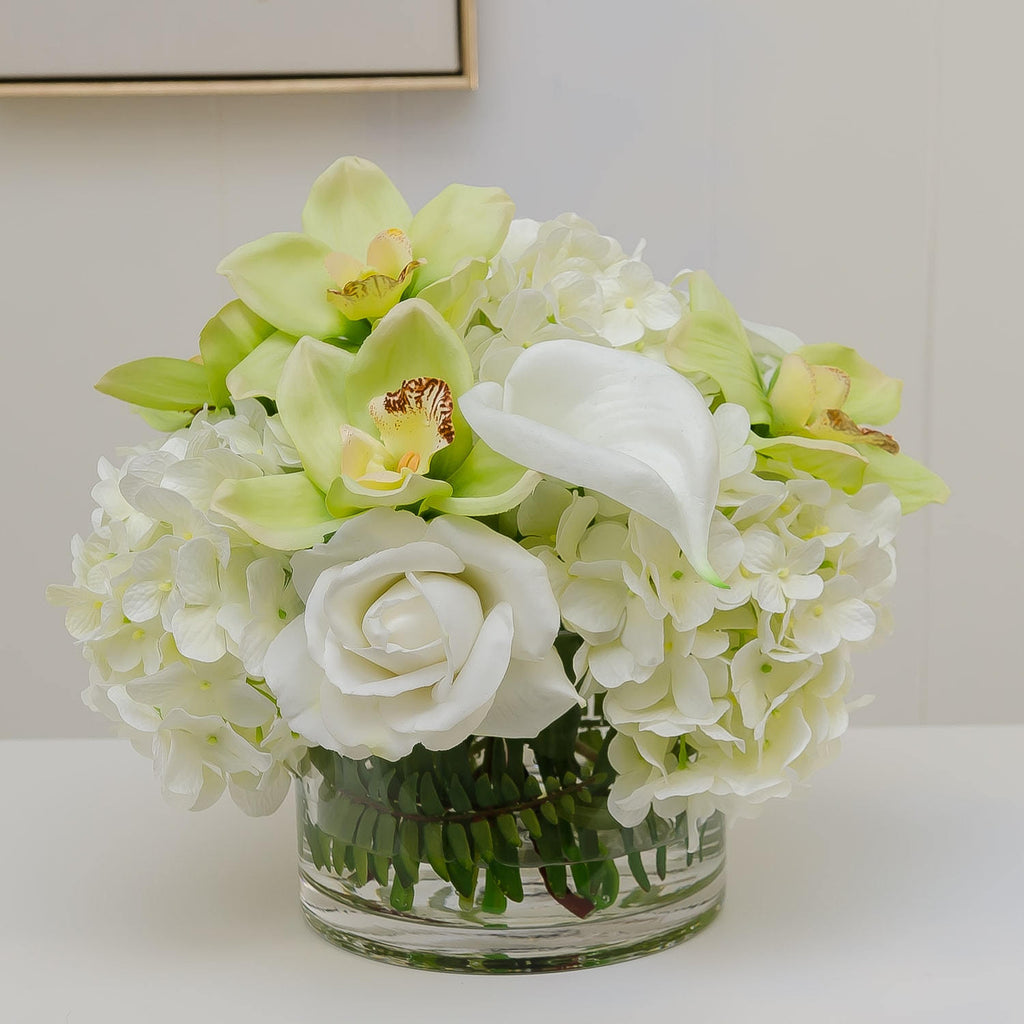 Large Real Touch White Hydrangeas Roses Orchid Arrangement Flovery