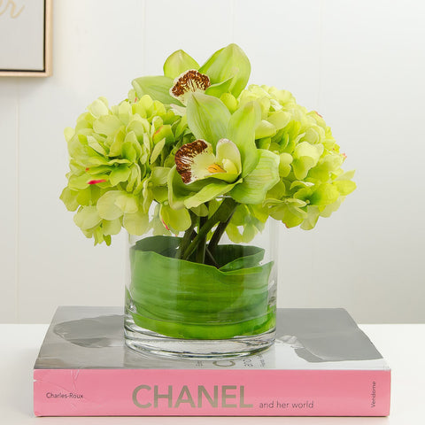 Real Touch Hydrangea Orchid Arrangement Green