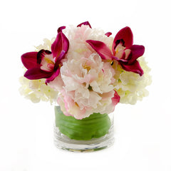 Red Orchid White Hydrangeas Pink Peonies Silk Arrangement