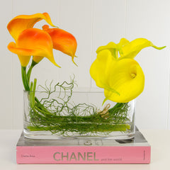 Real Touch Calla Lily Arrangement Yellow Orange - Flovery