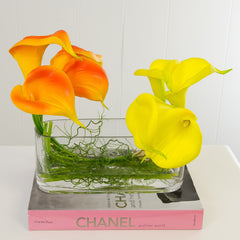 Real Touch Calla Lily Arrangement Yellow Orange