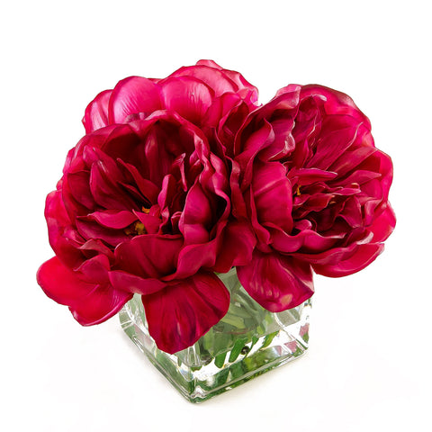 Large Real Touch Fuschia Peony Arrangement