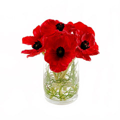 Real Touch Red Poppies Arrangement Cylinder
