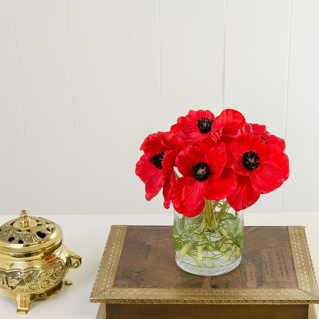 Real Touch Red Poppies Arrangement Cylinder - Flovery