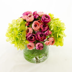 Real Touch Green Hydrangeas Pink Primeroses Arrangement