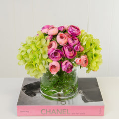 Real Touch Green Hydrangeas Pink Primeroses Arrangement - Flovery