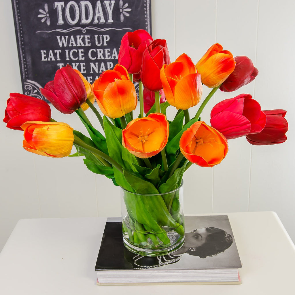 Large Real Touch Tulip Arrangement Red Orange - Flovery