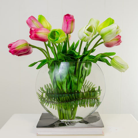 Large Real Touch Tulips Arrangement Pink Green Half Moon