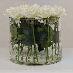 Large White Real Touch Rose Arrangement Cylinder - Flovery
