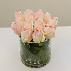 Real Touch Cream Tipped Pink Bud Rose Arrangement - Flovery