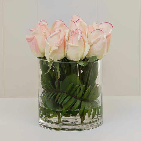 Real Touch Cream Tipped Pink Bud Rose Arrangement