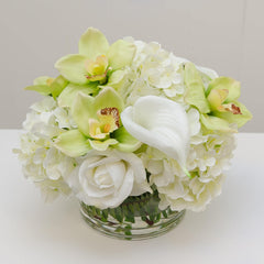 Large Real Touch White Hydrangeas Roses Orchid Arrangement