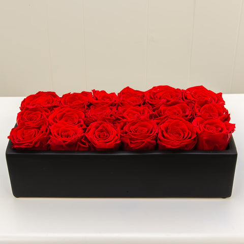 Red Roses Black Ceramic Long Eternity Roses