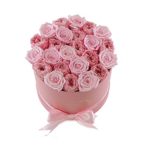 Medium Round Pink Box Pink Rose