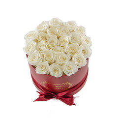 Medium Round Red Box White Roses