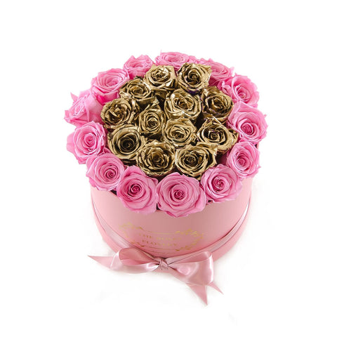 Medium Round Pink Box Pink Gold Roses - Flovery