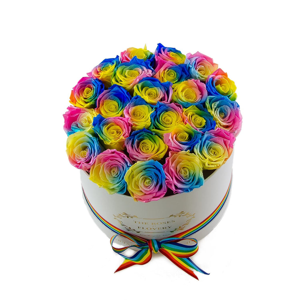 Medium Round White Box Rainbow Roses