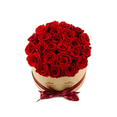 Medium Round Gold Box Red Roses