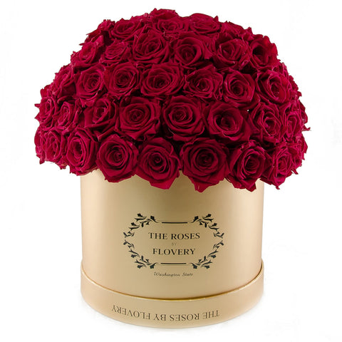 Dome 120 Red Roses Gold Box - Flovery