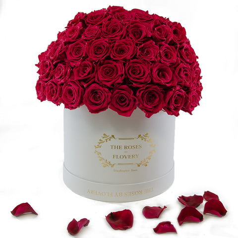 Dome 120 Red Roses White Box - Flovery