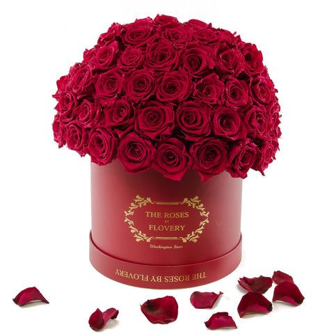 Dome 120 Red Roses Red Box - Flovery