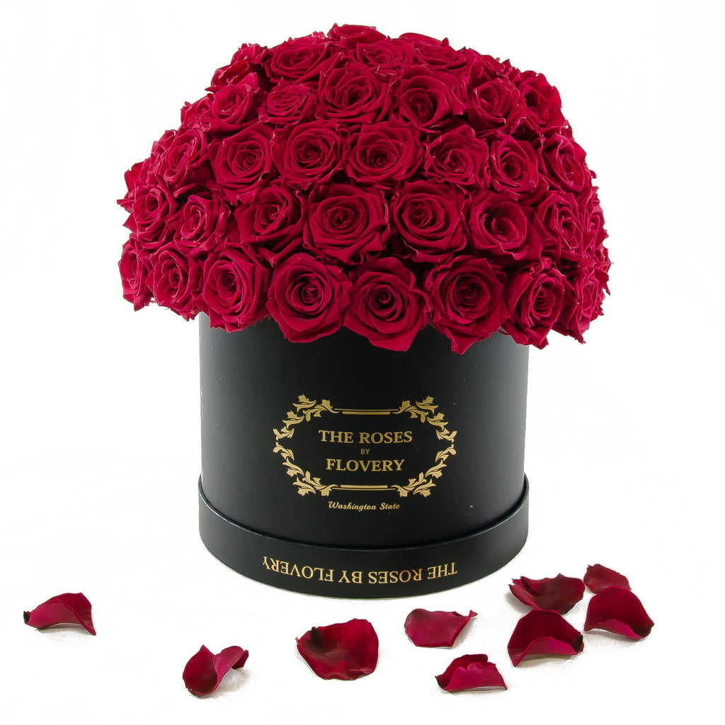 Dome 120 Red Roses Black Box - Flovery