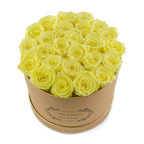 Medium Round Gold Box Yellow Roses