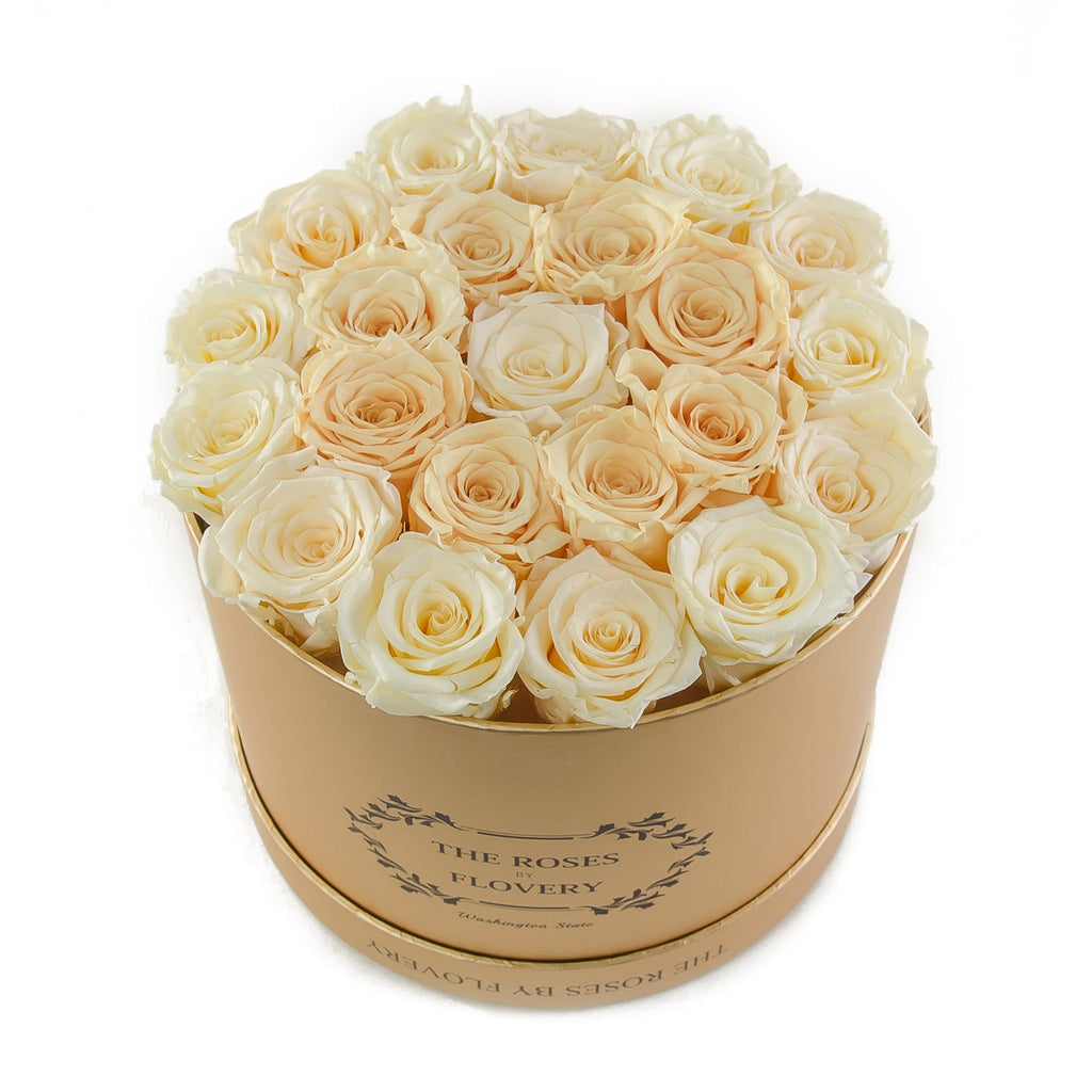 Medium Round Gold Box White Gold Roses Flovery