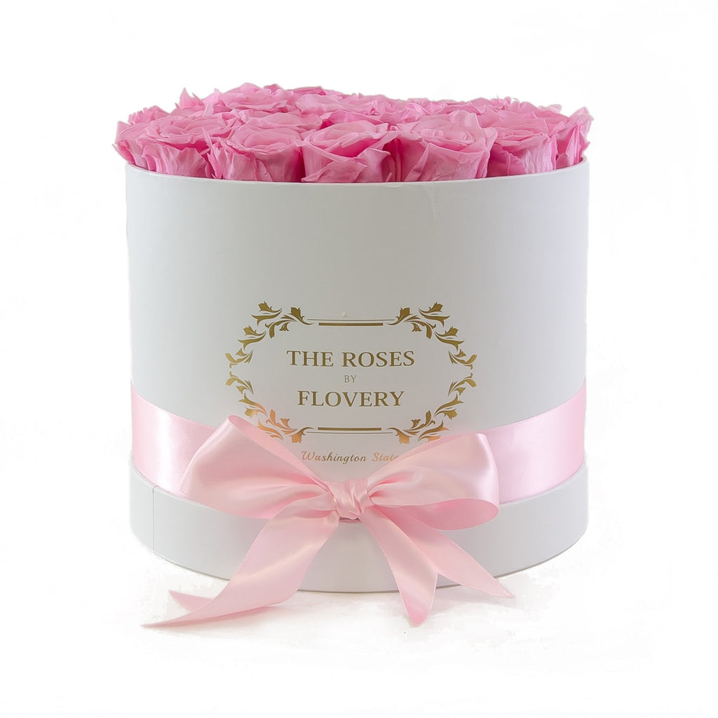 Medium Round White Box Pink Roses - Flovery