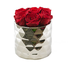 Red Preserved Roses Metallic Round Vase - Flovery