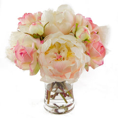 Real Touch Pink Roses Peonies Cylinder Arrangement